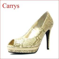 CARRYS キャリーズ  ca502bgh  ベージュスネイク 【シンプルで綺麗なオープントゥの CARRYSダブルストームパンプス】