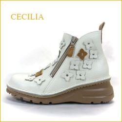 cecilia セシリア ce032ivca アイボリーキャメル 【コンビカラーがオシャレ・・かわいいWジッパー。。cecilia お花のショートブーツ】