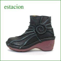 エスタシオン靴  estacion  et0114bl ブラック 【ヒールアップがデビュー!!エスタシオン靴 すごく可愛い ぐるぐるアンクル】