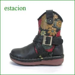 エスタシオン靴  estacion  et01bl ブラック 【新・ソールが登場!!エスタシオン靴 すごく可愛い 花花・ベルトブーツ】