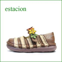 エスタシオン靴 estacion  et0381brbg  BRベージュ 【お花畑を散歩。。エスタシオン靴・・・・カラフル・・可愛い!花花・ ワンベルト】