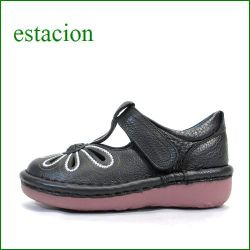 エスタシオン靴 estacion  et06bl  ブラック 【おすすめしちゃう新型ソール・・・お花畑を散歩。。エスタシオン靴・・・・可愛い!花花・ Tストラップ】