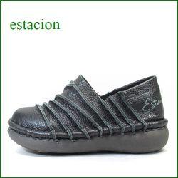 エスタシオン靴  estacion  et105bl  ブラック 【フワフワで歩こう! カワイイ斜めのしましま~エスタシオン靴・ スリッポン】