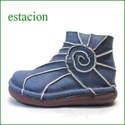 エスタシオン靴  estacion  et114ANde 革デニム 【新鮮素材 革デニム エスタシオン靴・・すごく可愛い ぐるぐるアンクル】