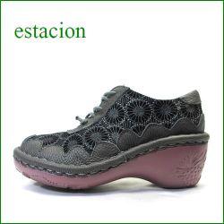 エスタシオン靴  estacion  et144dgy  ダークグレイ 【ヒールアップでも登場。。新鮮・和柄のお花。。エスタシオン靴・・ごむごむマニッシュ】