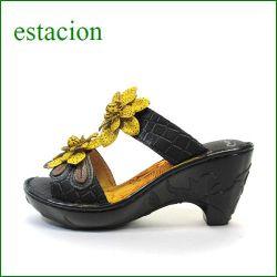 エスタシオン靴  estacion  et025bl ブラック 【ボリューム満点。かわいいフラワー。。エスタシオン靴・・新型フラワーソール・サンダル】
