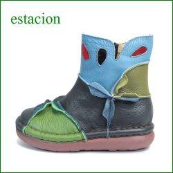 エスタシオン靴  estacion  et204nv  ネイビー 【ワクワク元気。。エスタシオン靴・・・・カラフル・・可愛い!花花・万華鏡・ブーツ】