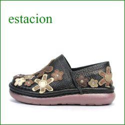 エスタシオン靴 estacion  et220bl  ブラック 【お花畑を散歩。。エスタシオン靴・・・・カラフル・・可愛い!花花・ スリッポン】