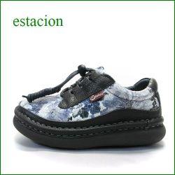 エスタシオン靴 estacion et256gy  グレイ 【新鮮キラキラお花・・・フワッと感じるお座布なクッション。。エスタシオン靴・・玉ひもマニッシュ】