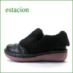 エスタシオン靴  estacion  et25Abl ブラック 【かわいいモコモコムートン!フワッと感じるクッション。。エスタシオン靴・・しましまスリッポン】