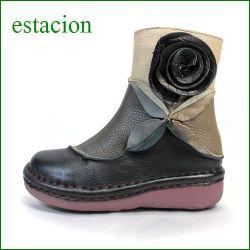 エスタシオン靴  estacion  et26bl ブラックマルチ 【新型フラワーソール登場!グルグルお花と新鮮色達。。。エスタシオン・・かわいいショートブーツ】