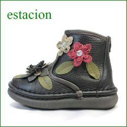 エスタシオン靴  estacion  et271bl ブラック 【フワッと感じるオザブ・クッション! エスタシオン・・お花畑のかわいいアンクル】