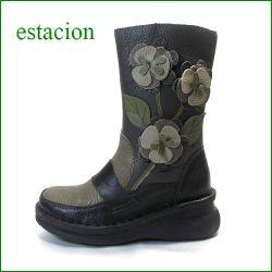 エスタシオン靴  estacion  et3018bl ブラック 【ちょびっと長めでデビューです! エスタシオン・・お花畑のかわいいハーフブーツ】
