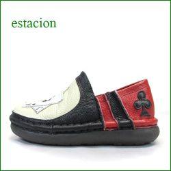 エスタシオン靴  estacion  et337ivbl アイボリーブラック 【 ハートのエース&スペードのエース~エスタシオン靴・ トランプのスリッポン】