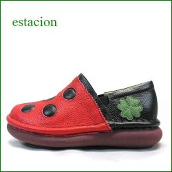 エスタシオン靴  estacion  et361re  レッド 【ちょっと厚めソールで登場!ふわふわクッション。エスタシオン靴・・テントウ虫・スリッポン】