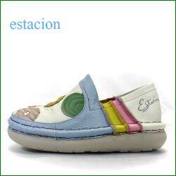 エスタシオン靴  estacion  et393bu  ブルーマルチ 【食べれないけど美味しそう・ estacionのスリッポン。。みんなで、ドーナッツしない? 】