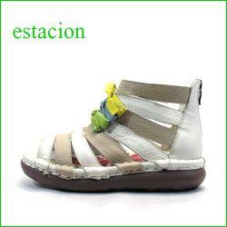 エスタシオン靴  estacion  et405ok OKアイボリー 【新型ソール登場! 可愛い色色リボン。。エスタシオン・ふわふわブーツサンダル】