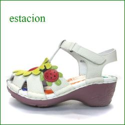 エスタシオン靴  estacion  et4081iv アイボリー 【可愛い七星てんとう虫。。ちょっとだけオープントゥ・・estacion ヒールアップサンダル】