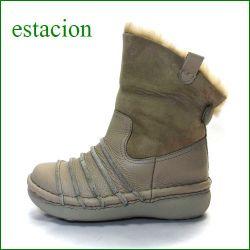 エスタシオン靴  estacion  et54ok オークベージュ 【ポカポカしましょ! 可愛いしましまデザイン・・エスタシオン・・ムートンブーツ】