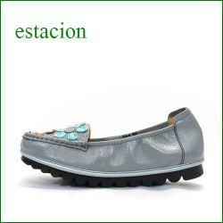 エスタシオン靴  estacion etn2026gy グレイ 【 馴染むレザーとくねくねソール・・・履きやすさバツグン! エスタシオン お花畑のスリッポン】