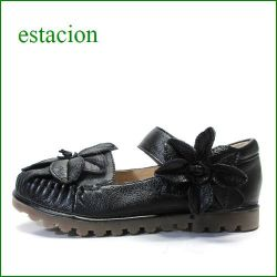 エスタシオン靴  estacion etn237813bl ブラック 【 可愛いお花ベルト・・安心の柔らかレザー。。 エスタシオン。 フィットするくねくねソール】