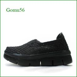 Gomu56  ゴムゴム gm5666bl  ブラック  【可愛いボリュームソール・・伸びるゴムゴム・・ Gomu56  メッシュの厚底スリッポン】