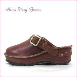 hina day green  ヒナデイグリン hi6002br  ブラウン  【プックリ可愛い履き口パッド・・安心のふんわりクッション・・ hina  サボ サンダル】