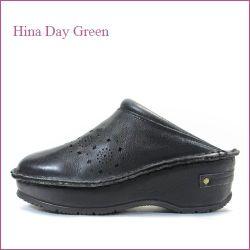 hina day green  ヒナデイグリン hi6003bl  ブラック  【かわいいポンポン履き口パッド・・安心のふわふわクッション・・ hina  サボサンダル】
