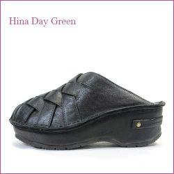 hina day green  ヒナデイグリン hi6016bl  ブラック  【可愛いボリューム・・安心のふわふわクッション・・ hina  メッシュのサボサンダル】