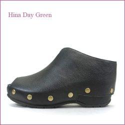 hina day green  ヒナデイグリン hi6026bl  ブラック  【大きめスタッズがオシャレ・・安心のふんわりクッション・・ hina  カカトの付いた 厚底サボ 】