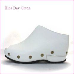 hina day green  ヒナデイグリン hi6026wt  ホワイト  【大きめスタッズがオシャレ・・安心のふんわりクッション・・ hina  カカトの付いた 厚底サボ 】