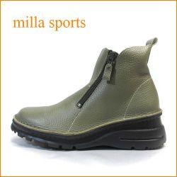 milla ミラ mi7032ka カーキ— 【どんどん歩けるラバーソール・・おしゃれなWジッパー・・milla・・アンクルショート】