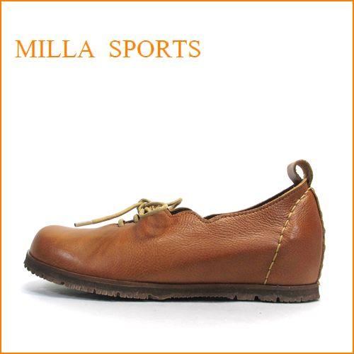 milla sports ミラ mi05ca キャメル 【可愛いフラワーカット・・・楽らくワイズ 巾広4E・・Milla Sports ひもひもスリッポン】