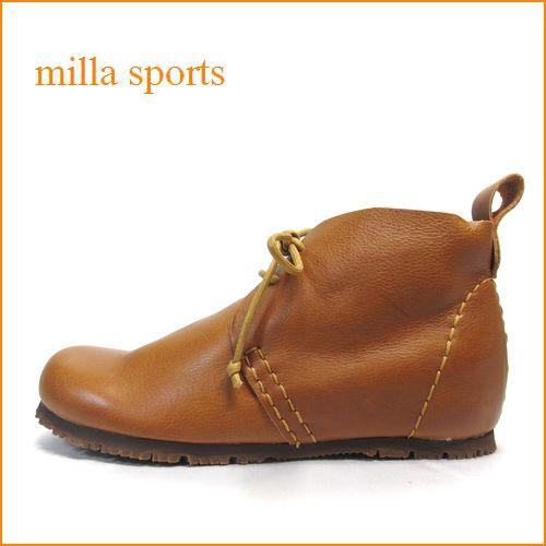 milla sports ミラスポーツ mi15500ca キャメルブラウン 【かわいい丸さのラウンドトゥ・巾広4E・・milla sports ひもひもアンクルブーツ】