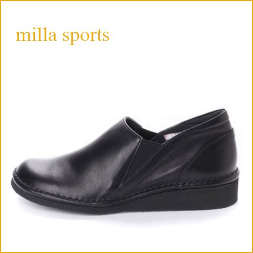 milla sports ミラスポーツ mi1735bl 黒 【足に優しいソフトなレザー・・超 軽量ソール!milla sports・シンプル サイドゴア スリッポン】
