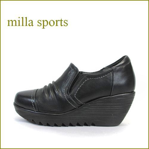 milla sports ミラスポーツ mi3992bl ブラック 【プックリ、ボリュームのある・・新型 厚底ソール・・Miilla Sports 柔らかレザースリッポン】