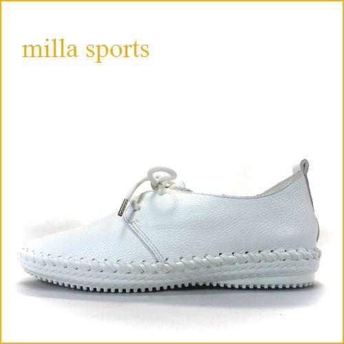 milla sports   ミラスポーツ  mi4771wt  ホワイト 【柔らかソールで歩こう・・ふわふわクッション・milla sports・シンプルシューズ】