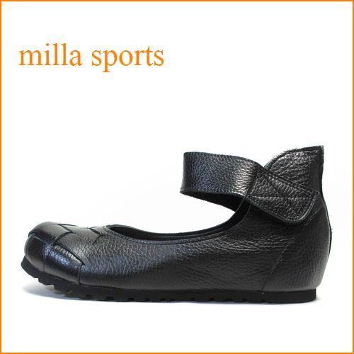 milla sports ミラ mi5001bl ブラック 【可愛いまん丸トゥ・・フィットする履き心地・・milla sports・・巾広4Eのアンクルベルト】