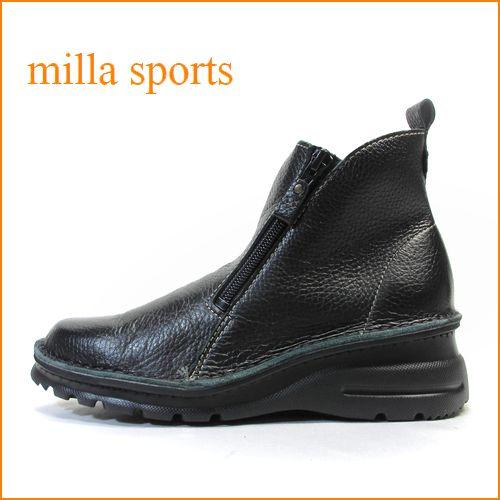 milla ミラ mi7032bl ブラック 【どんどん歩けるラバーソール・・おしゃれなWジッパー・・milla・・アンクルショート】