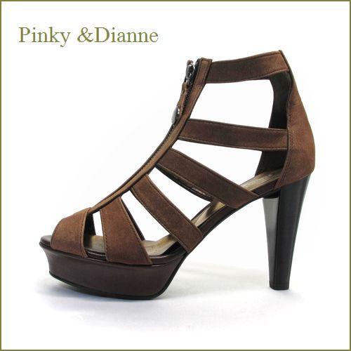 pinky & dianne ピンキ—&ダイアン pi79br  ブラウン  【新鮮・フロントファスナー・・味のあるビンテージヌバック・・・pinky & dianne 厚底ブーツサンダル】
