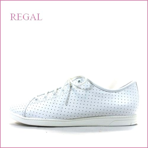 regal  リーガル  re75wt  ホワイト 【軽さ180gでどんどん歩こう・・かわいいピアスパンチング素材。。regal シンプル レザースニーカー】