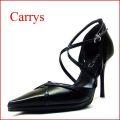 ◆CARRYS キャリーズ ca110bl ブラック 【クロスベルトで足を細く見せる CARRYS セパレートパンプス】