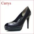 CARRYS キャリーズ  ca502blh  ブラックスネイク 【シンプルで綺麗なオープントゥの CARRYSダブルストームパンプス】