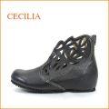 cecilia  セシリア  ce104bl  ブラック 【可愛いフラワー模様のパンチング・ゆったり巾広4E・cecilia・アンクル・ショートブーツ】