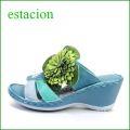 エスタシオン靴  estacion  et065bu ブルー 【可愛い、、ボンボンフラワー・・エスタシオン・・・厚底・フワフワ・クッション ミュール】