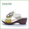 エスタシオン靴  et068ivo アイボリー 【可愛い!色の宝石箱・・エスタシオン・・ヒールアップした・・花花・ミュールサンダル】