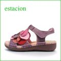 エスタシオン靴  estacion  et18pl パープル 【ボリューム満点。カラフル ボンボンフラワー。。エスタシオン靴・・新型ソール・サンダル】