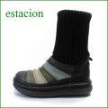 エスタシオン靴  estacion  et268bl ブラックマルチ 【長さをアレンジしましょ!可愛いニット 。。エスタシオン・・しましまブーツ】