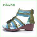 エスタシオン靴  estacion  et402gr グリ—ンコンビ 【可愛いお花が咲いている。ふわふわクッションの・・ エスタシオン ブーツサンダル】