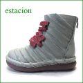 エスタシオン靴  estacion  et501gyre グレイレッド 【可愛い・新色グレイとレッド**エスタシオン しましま リボンブーツ】